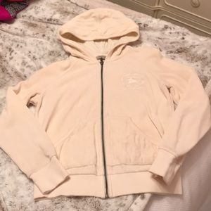 BURBERRY ZIP FRONT VELOUR JACKET - CREAM COLOR.